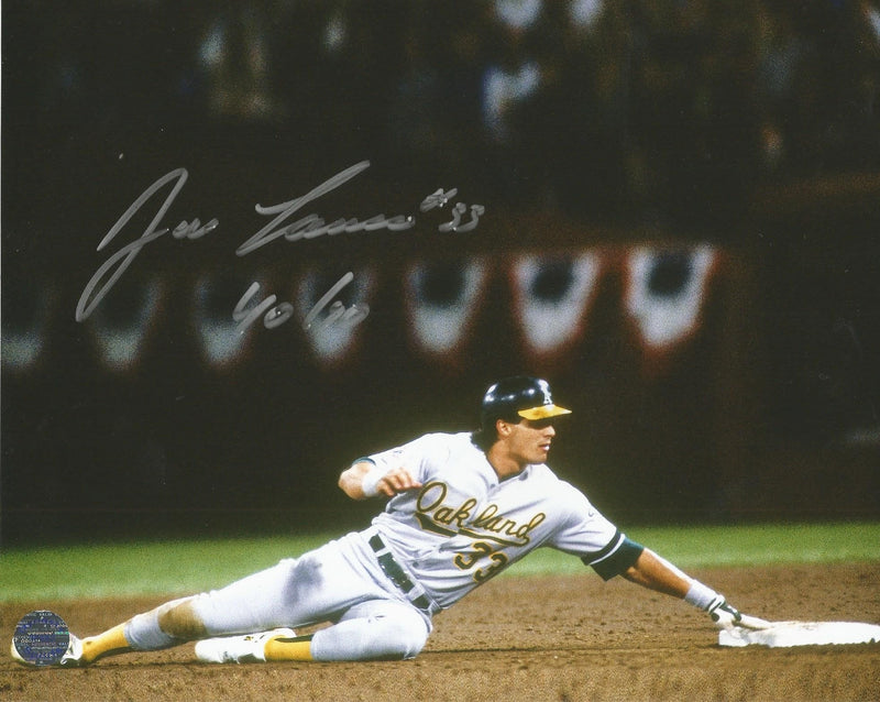 "Jose Canseco Oakland Athletics Autographed MLB Baseball 8"" x 10"" Photo with 40/40 Inscription - Dynasty Sports & Framing"