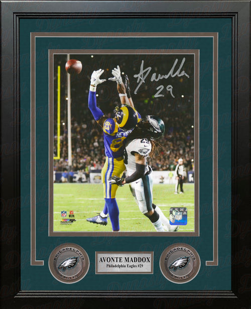 Avonte Maddox v. The Rams Philadelphia Eagles Autographed NFL Football Framed and Matted Photo - Dynasty Sports & Framing