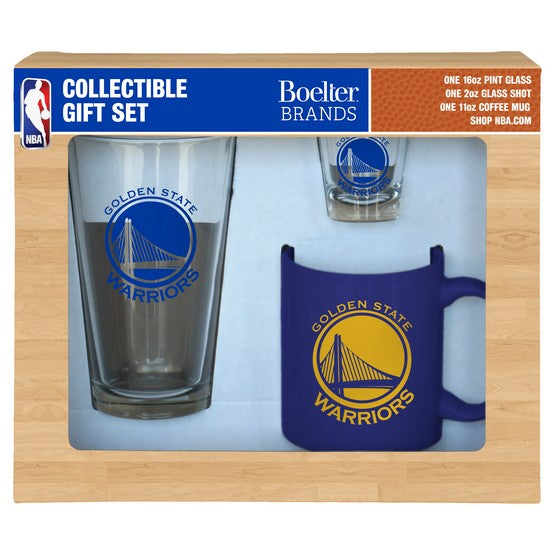 Golden State Warriors 3-Piece Glassware Gift Set - Dynasty Sports & Framing