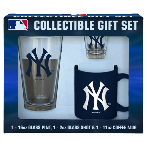 New York Yankees Baseball 3-Piece Glassware Gift Set - Dynasty Sports & Framing