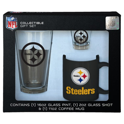 Pittsburgh Steelers NFL Football 3-Piece Glassware Gift Set