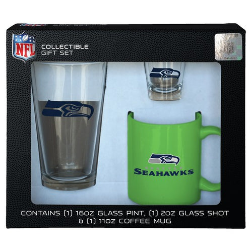 Seattle Seahawks NFL 3-Piece Glassware Gift Set