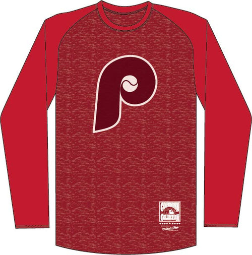 Philadelphia Phillies Mitchell & Ness Raglan Logo Long Sleeve Shirt - Dynasty Sports & Framing