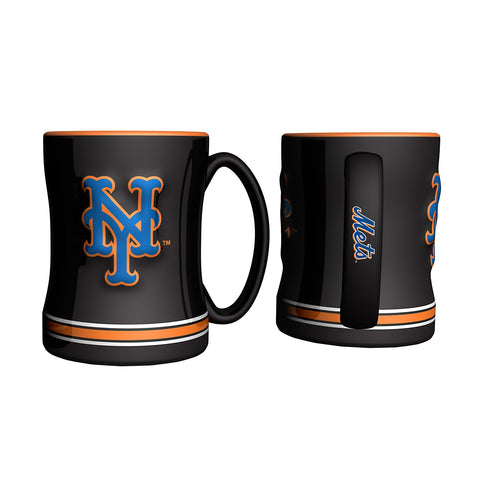 New York Mets MLB Baseball Logo Relief 14 oz. Mug - Dynasty Sports & Framing