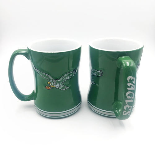 Philadelphia Eagles Kelly Green Throwback Relief 14 oz. Mug - Dynasty Sports & Framing
