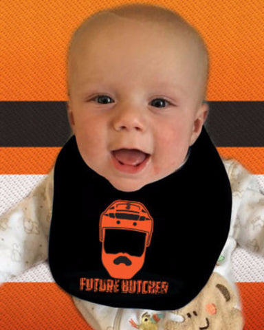 "Radko Gudas ""Future Butcher"" Flyers Black Baby Bib - Dynasty Sports & Framing  - 1"