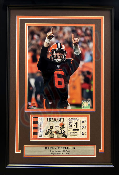 Baker Mayfield First Win Cleveland Browns Framed Football Photo with Replica First Win Ticket - Dynasty Sports & Framing