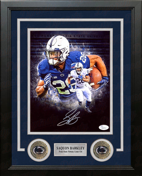 Saquon Barkley Blackout Penn State Nittany Lions Autographed 8x10 Framed College Football Photo - Dynasty Sports & Framing
