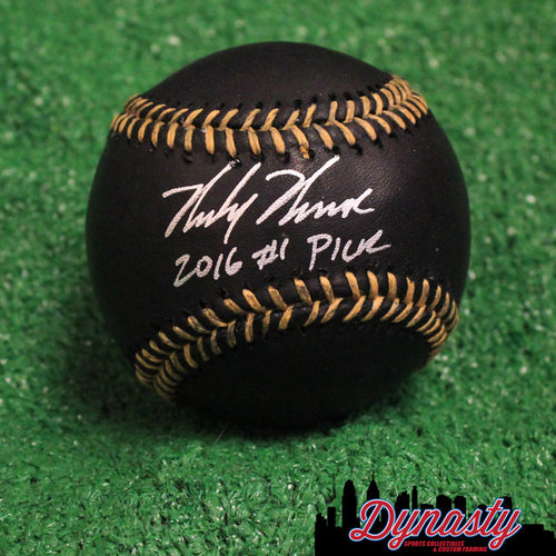 Mickey Moniak Autographed Philadelphia Phillies Major League Black Baseball with '2016 #1 Pick' - Dynasty Sports & Framing