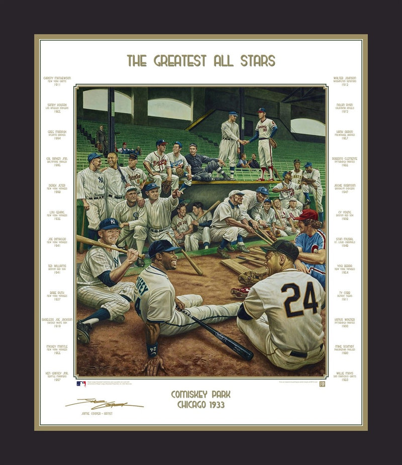 MLB Baseball's Greatest All-Stars Exclusive Dream Scene Framed and Matted Lithograph Artwork Print by Artist Jamie Cooper