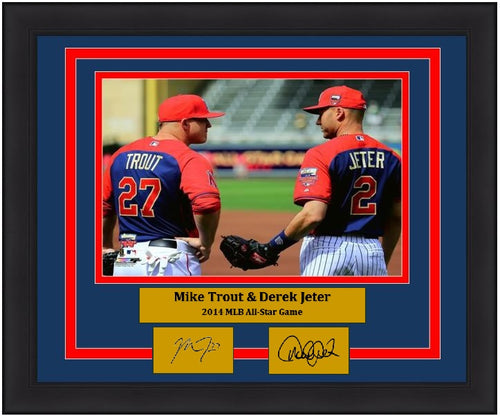 "Mike Trout & Derek Jeter 2014 All-Star Game 8"" x 10"" Framed Baseball Photo with Engraved Autographs - Dynasty Sports & Framing"