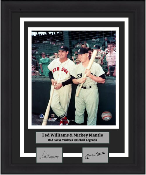 "Ted Williams and Mickey Mantle Together on the Field MLB Baseball 8"" x 10"" Framed and Matted Legends Photo with Engraved Autographs"