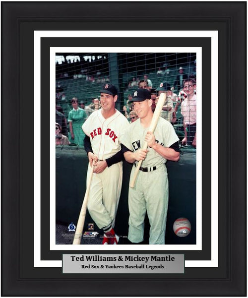"Ted Williams and Mickey Mantle Together on the Field MLB Baseball 8"" x 10"" Framed and Matted Legends Photo"