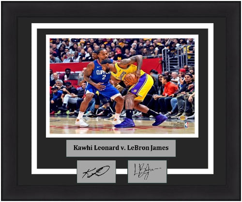 "Kawhi Leonard v. LeBron James 8"" x 10"" Framed Basketball Photo with Engraved Autographs - Dynasty Sports & Framing"