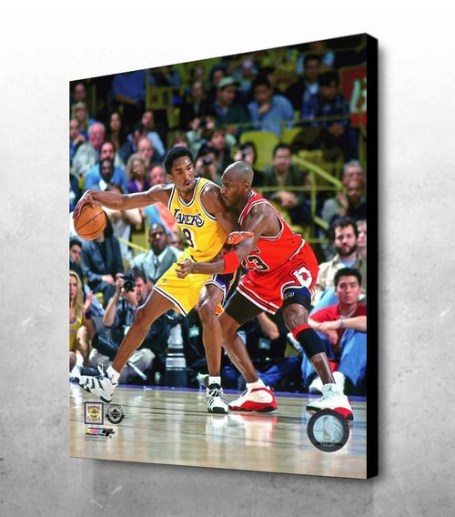 "Kobe Bryant v. Michael Jordan 16"" x 20"" Basketball Canvas Print - Dynasty Sports & Framing"