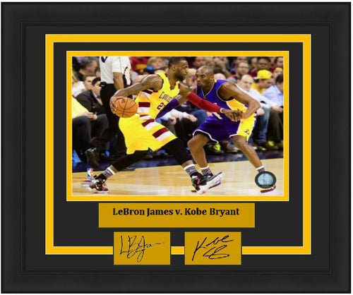 "LeBron James v. Kobe Bryant 2016 NBA Basketball 8"" x 10"" Framed Photo with Engraved Autographs"