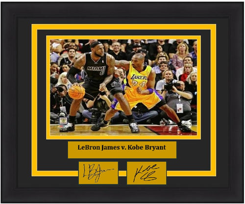 "LeBron James v. Kobe Bryant 2012 NBA Basketball 8"" x 10"" Framed Photo with Engraved Autographs"