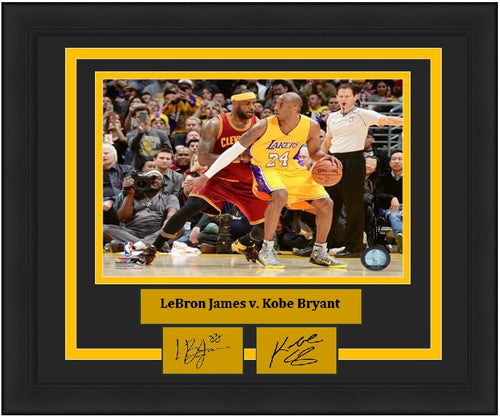 "LeBron James v. Kobe Bryant NBA Basketball 8"" x 10"" Framed and Matted Photo with Engraved Autographs - Dynasty Sports & Framing"