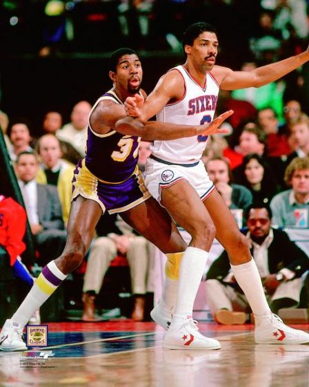 "Magic Johnson v. Julius Erving 8"" x 10"" Basketball Photo - Dynasty Sports & Framing"
