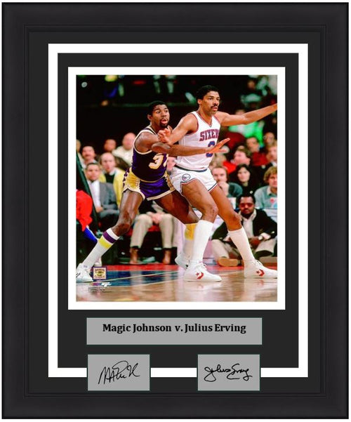"Magic Johnson v. Julius Erving 8"" x 10"" Framed Basketball Photo with Engraved Autographs - Dynasty Sports & Framing"