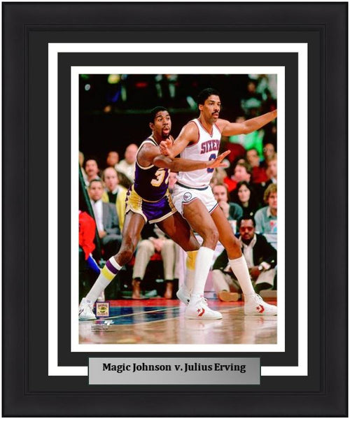 "Magic Johnson v. Julius Erving 8"" x 10"" Framed Basketball Photo - Dynasty Sports & Framing"