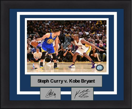 "Steph Curry v. Kobe Bryant NBA Basketball 8"" x 10"" Framed & Matted Photo with Engraved Autographs - Dynasty Sports & Framing"
