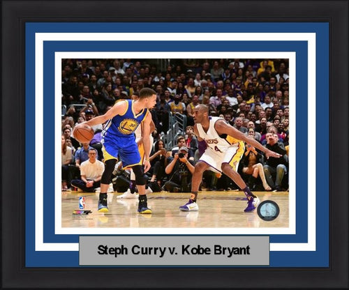 "Steph Curry v. Kobe Bryant NBA Basketball 8"" x 10"" Framed & Matted Photo - Dynasty Sports & Framing"