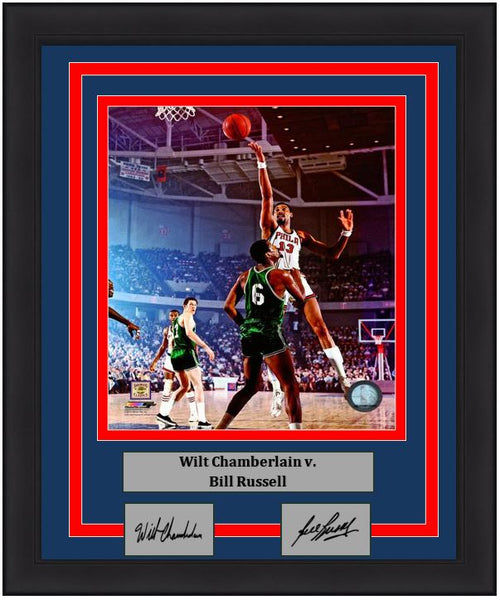 "Wilt Chamberlain v. Bill Russell Engraved Autographs NBA Basketball 8"" x 10"" Framed and Matted Photo - Dynasty Sports & Framing"