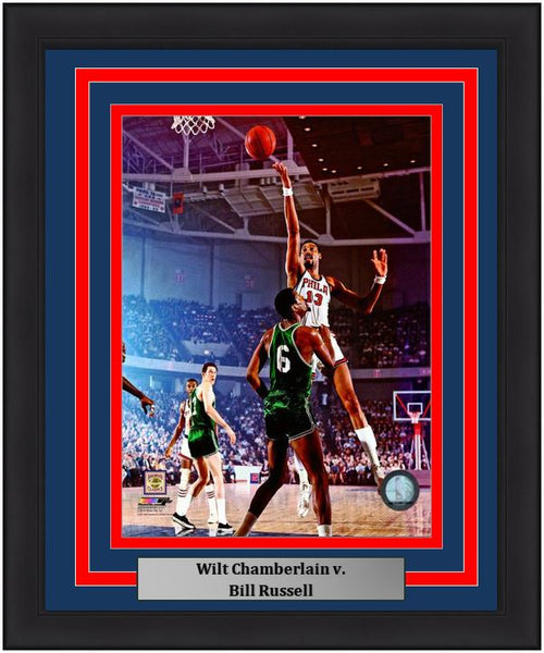 "Wilt Chamberlain v. Bill Russell NBA Basketball 8"" x 10"" Framed and Matted Photo - Dynasty Sports & Framing"