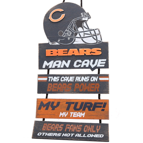 Chicago Bears NFL Football Wooden Helmet Man Cave Dangle Sign - Dynasty Sports & Framing