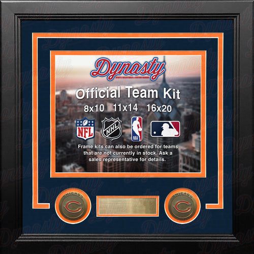 NFL Football Photo Picture Frame Kit - Chicago Bears (Navy Matting, Orange Trim) - Dynasty Sports & Framing