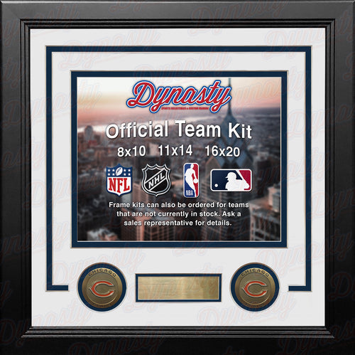 NFL Football Photo Picture Frame Kit - Chicago Bears (White Matting, Navy Trim) - Dynasty Sports & Framing