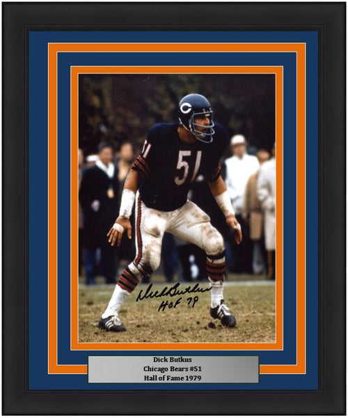 "Dick Butkus Chicago Bears Autographed NFL Football 8"" x 10"" Framed and Matted Photo with Hall of Fame Inscription"