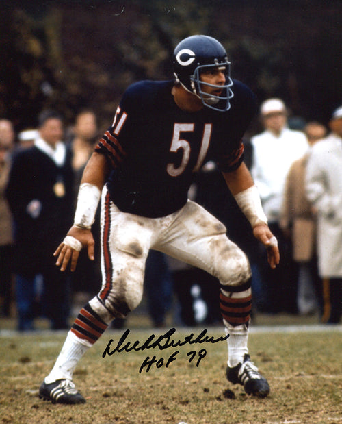 "Dick Butkus Chicago Bears Autographed NFL Football 8"" x 10"" Photo with Hall of Fame Inscription"