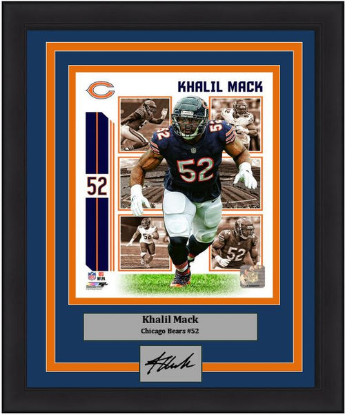 "Khalil Mack Player Collage Chicago Bears NFL Football 8"" x 10"" Framed and Matted Photo with Engraved Autograph"