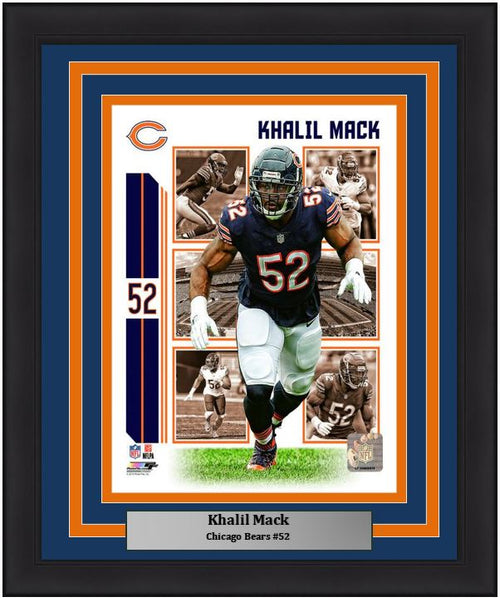 "Khalil Mack Player Collage Chicago Bears NFL Football 8"" x 10"" Framed and Matted Photo"