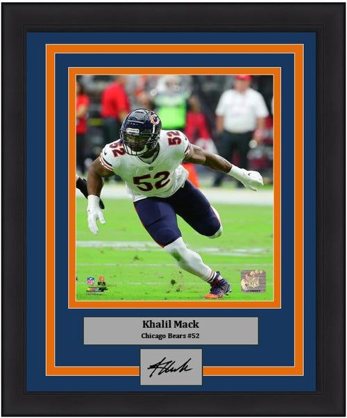 "Khalil Mack in Action Chicago Bears NFL Football 8"" x 10"" Framed and Matted Photo with Engraved Autograph - Dynasty Sports & Framing"