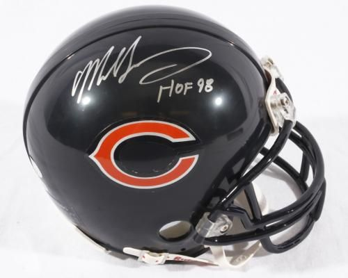 Chicago Bears Mike Singletary Autographed NFL Football Mini-Helmet with Hall of Fame Inscription