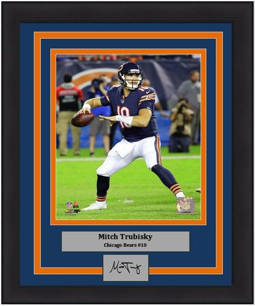"Mitch Trubisky in Action Chicago Bears 8"" x 10"" Framed Football Photo with Engraved Autograph - Dynasty Sports & Framing"
