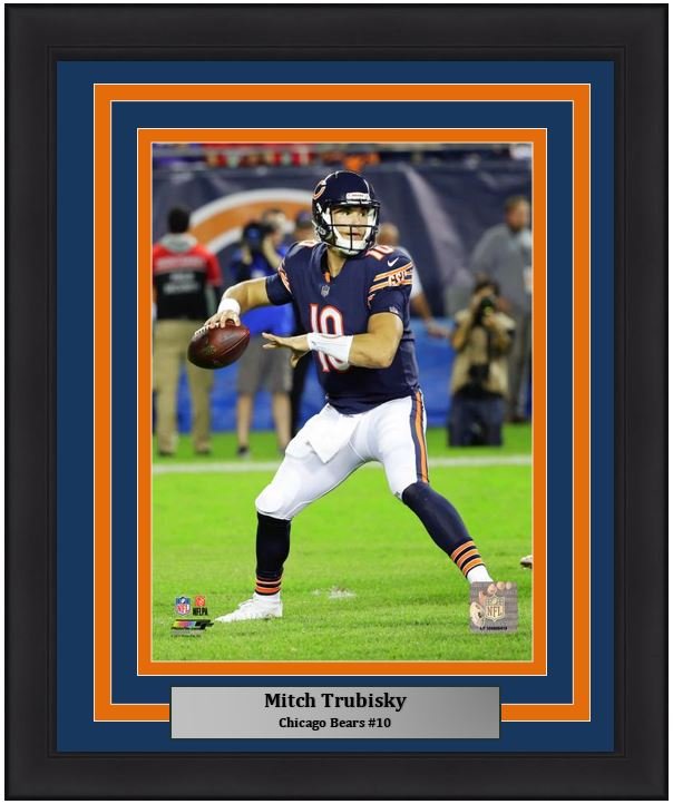 "Chicago Bears Mitch Trubisky NFL Football 8"" x 10"" Framed and Matted Photo"