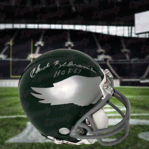 Chuck Bednarik Philadelphia Eagles Autographed Throwback Mini-Helmet with Hall of Fame Inscription - Dynasty Sports & Framing