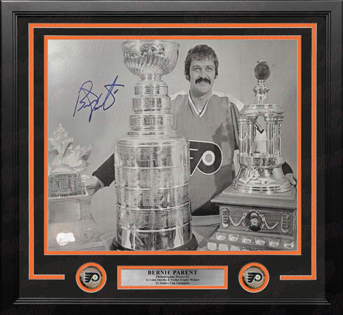 Bernie Parent Conn Smythe, Stanley Cup, & Vezina Trophies Autographed Flyers 11x14 Framed Photo - Dynasty Sports & Framing