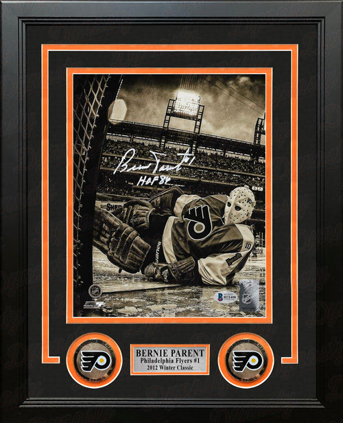 "Bernie Parent Winter Classic Autographed Philadelphia Flyers 8"" x 10"" Framed Sepia Hockey Photo - Dynasty Sports & Framing"