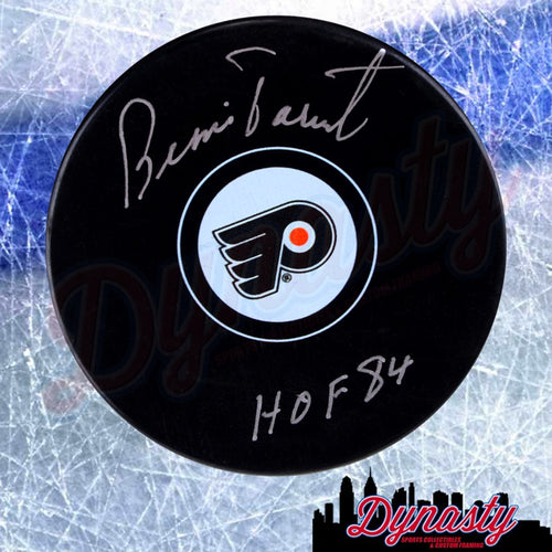 Bernie Parent Autographed Philadelphia Flyers Hockey Logo Puck with Hall of Fame Inscription - Dynasty Sports & Framing