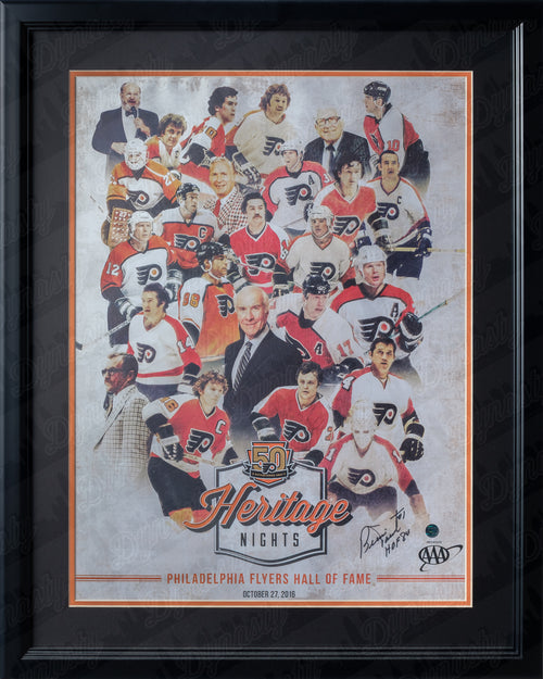 Philadelphia Flyers Bernie Parent Autographed 50th Anniversary Alumni Heritage Nights Limited Edition NHL Hockey Framed and Matted Team Poster - Dynasty Sports & Framing