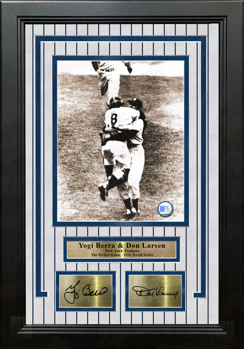 Yogi Berra & Don Larsen Perfect Game New York Yankees 8x10 Framed Photo with Engraved Autographs - Dynasty Sports & Framing
