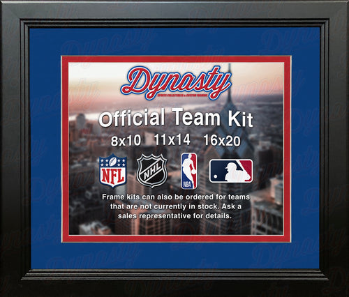 NHL Hockey Photo Picture Frame Kit - Columbus Blue Jackets (Blue Matting, Red Trim) - Dynasty Sports & Framing