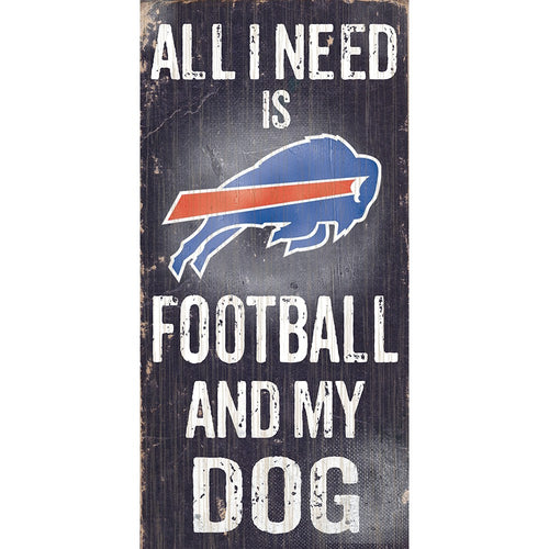 Buffalo Bills Football and My Dog Wooden Sign - Dynasty Sports & Framing