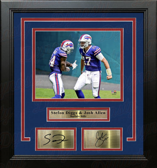 "Stefon Diggs & Josh Allen Buffalo Bills 8"" x 10"" Framed Football Photo with Engraved Autographs - Dynasty Sports & Framing"