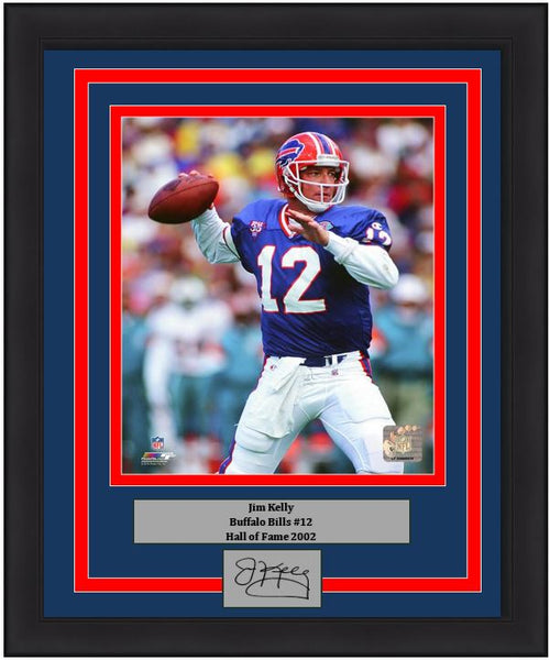 "Jim Kelly in Action Buffalo Bills 8"" x 10"" Framed Football Photo with Engraved Autograph - Dynasty Sports & Framing"